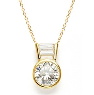 Diamond Essence Slide Pendant with 3.0 ct Round stone and Baguettes, 3.5 ct.tw. in 14K Solid Gold.