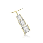 3 bezel set princess cut stones in gold pendant