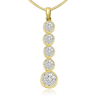 14k solid gold pendant with 1.75 ct round stone