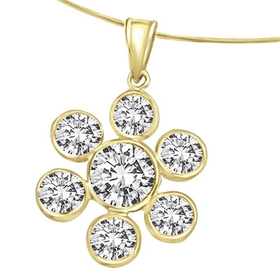 6 round stone 1 center stone gold flower pendant