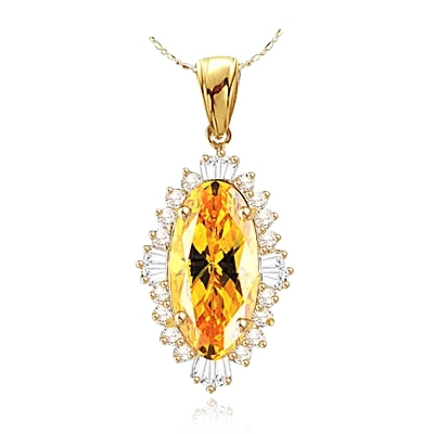 Marquise cut Canary stone Solid Gold pendant