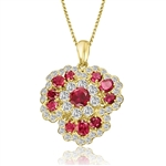 Classic ruby & white stone pendant in Solid Gold