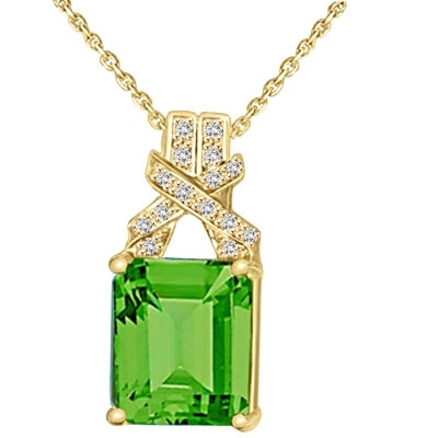 Solid gold pendant-emerald cut & twist round stone