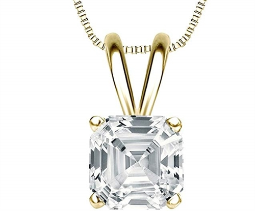 One carat Asscher Cut Diamond Essence stone set in 14K Solid Gold four prongs.  Choice of 2,3 and 4 carat available.