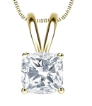One carat Cushion Cut Diamond Essence stone set in 14K Solid Gold four prongs.  Choice of 2,3 and 4 carat available.