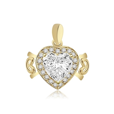 4ct Heart Pendant in Yellow
