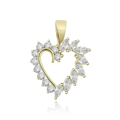 0.10 ct heart shaped marquise stone pendant in yellow gold