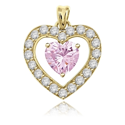 3 ct heart Pink Essence stone pendant in yellow gold