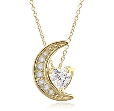 Moon is yours-set in a perfect harmony this pendant with 1 carat heart essence and round brilliant masterpieces in 14K Solid Gold. 1.20 cts.t.w.
