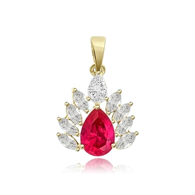 2ct pear cut ruby,marquise cut pendant in solid gold