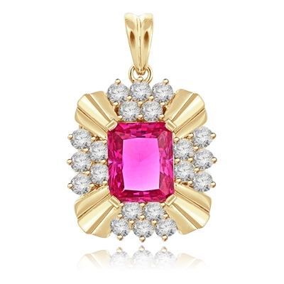 4ct Ruby Emerald cut stone of brilliant pendant in Yellow gold