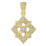 Diamond Essence Designer Pendant with Round Stones.1.25 Cts. T.W. set in 14K Solid Yellow Gold.