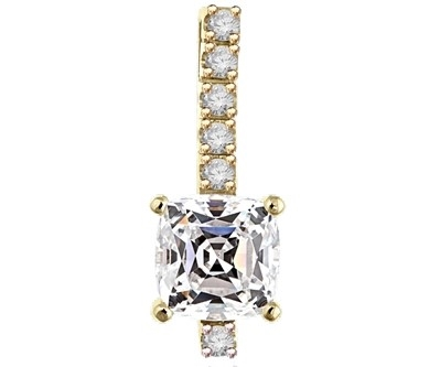 Elegant pendant with 3.0 Cts. Cushion cut Diamond Essence stone in four prong setting, with Round Brilliant stones in four prongs, set on a bar. 4.0 Cts.T.W. in 14K Solid Yellow Gold.