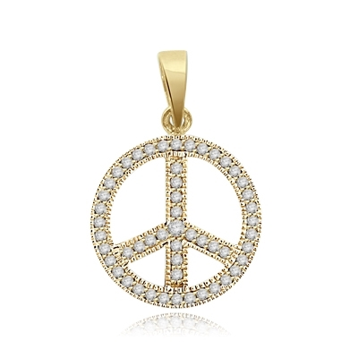 Peace Sign Pendant. Chanel set Round Brilliant Diamond Essence stones sparkling bright and spreading peace everywhere. set in 14K Solid Yellow Gold.