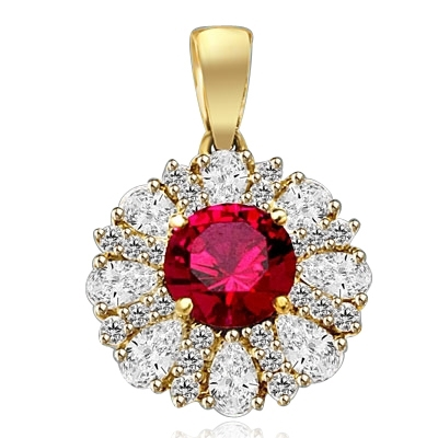 Diamond and Ruby Pendant - 2.0 cts. Round Ruby Essence in center surrounded by Pear Cut Diamond Essence and Melee. 5.5 Cts T.W. set in 14K solid Yellow Gold.