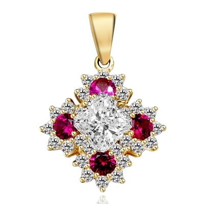 Designer Pendant with Asscher cut Diamond Essence in center surrounded by Floral designs created with Round Ruby Essence and Melee. 6.0 Cts. T.W. set in 14K Solid Yellow Gold.