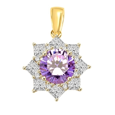 Pendant with 3.50 Cts. Round Lavender Essence in center surrounded by Princess Cut Diamond Essence and Melee. 6.50 Cts. T.W. set in 14K Solid Yellow Gold.