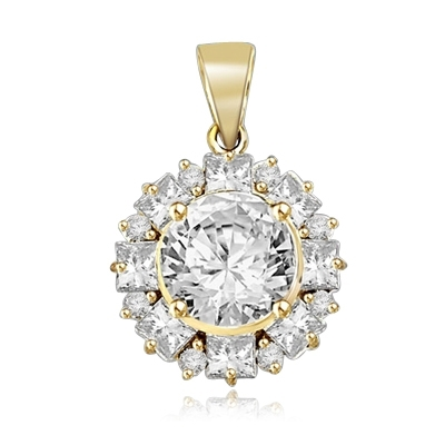 Designer Pendant with 4.0 Cts Round Brilliant Diamond Essence in center surrounded by alternately set in Princess and Melee. 7.25 Cts T.W. in 14K Solid Yellow Gold.