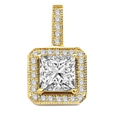 Pretty Princess Cut Diamond Essence centerpiece,surrounded by Round Brilliant Melee in Designer Pendant. 2.0 Cts. T.W. set in 14K solid Yellow Gold.