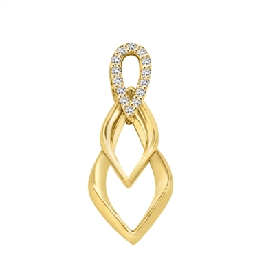 Tear Drop Pendant with Diamond Essence Triple Twist. 0.75 Cts. T.W. In 14k Solid Yellow Gold.