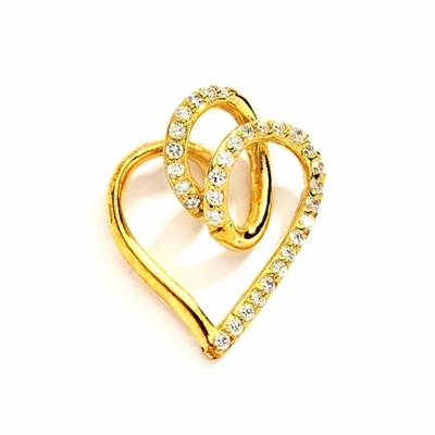 Superb Heart Shaped Pendant with Brilliant Diamond Essence Stones on Fluttery Curves. 1.5 Cts. T.W. In 14k Solid Yellow Gold.