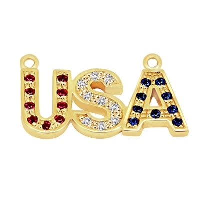 Let the patriotism show this season. Diamond Essence Pendant with Round Ruby, Sapphire and Brilliant Stones, In 14k Solid Yellow Gold with Chain.