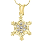 solid gold snow flake pendant with .25ct round stone