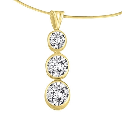Pendant-2.25ct solid gold graduated bezel,round stone
