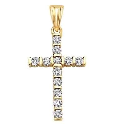 Diamond Essence Cross Pendant with bar setting Round Brilliant stones, 0.6 Ct.T.W. in 14K Solid Yellow Gold.