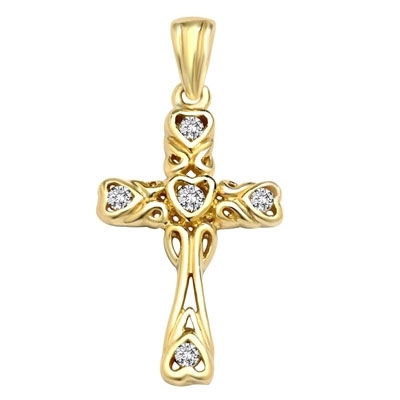 Diamond Essence Round Brilliant Melee set in heart shape carving on Cross Pendant, 0.15 Ct.T.W. in 14K Solid Yellow Gold.