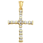Diamond Essence Cross Pendant with Round Brilliant Melee and Baguettes, set between bars, 0.50 Ct.T.W. in 14K Solid Yellow Gold.