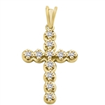 Diamond Essence Cross Pendant with designer outring setting, 0.30 Ct.T.W. in 14K Solid Yellow Gold.