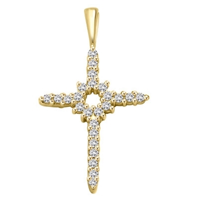 14K Solid Yellow Gold Diamond Essence Cross Pendant with Round Brilliant Melee set in delicate prong setting, 0.4 Ct.T.W.