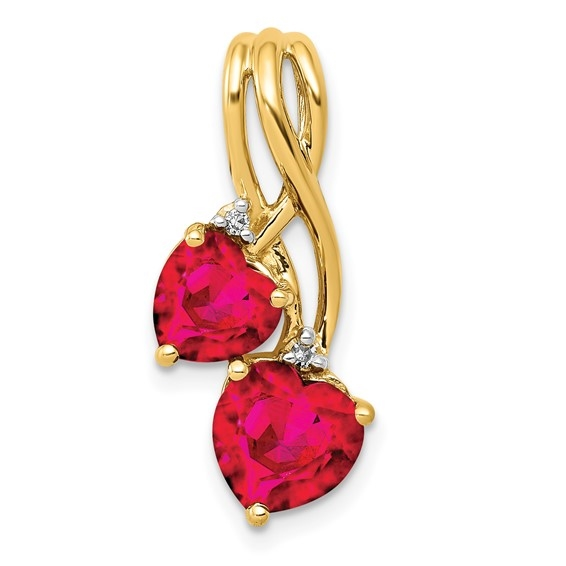2 ct heart Ruby Essence pendant in yellow gold.