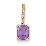 14k Yellow Gold Diamond Essence Solitaire Pendant With French Cut Rectangular Shape Amethyst Cushion Stone Set In 8 Prongs Decorated By Delicate Round Brilliant Melee On The Bail, 1.50 Cts.T.W.