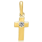 Children's Cross Pendant with a Round Brilliant Diamond Essence Melee set in 14k Solid Yellow Gold. 0.05 Ct. T.W.