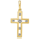 Children's Cross Pendant with channel set Round Brilliant Diamond Essence Melee set in 14k Solid Yellow Gold. 0.25 Ct. T.W.