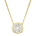 Diamond Essence 14K Sold Yellow Gold Solitaire 18 Inch Long Necklace With Round Brilliant Stone in Bezel Setting, 1 Ct.T.W.