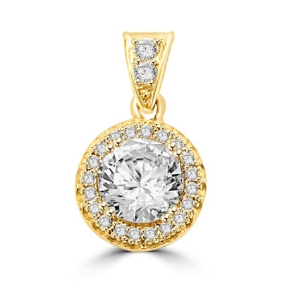 Pendant with Round Brilliant Diamond Essence in Center, surrounded by Melee 1.25 Cts T.W. set in 14K Solid Yellow Gold.