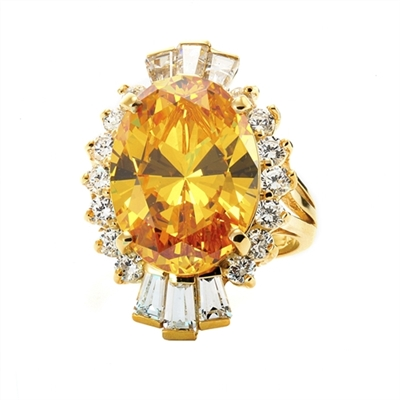 Diamond Essence Designer ring in 14K Solid Yellow Gold with 10 cts. Oval Canary center. Round Essence and Baguettes on either side, set in prong settings, makes it a classic cocktail ring. 13.0 cts.T.W.