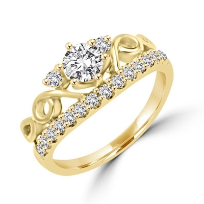 Tiara look artistic designer ring with 0.50 ct. Round Brilliant Diamond Essence in the center in six prongs setting, 2.75 cts.t.w. in 14K Solid Gold.