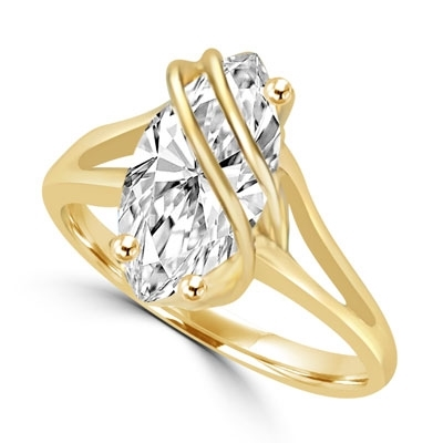 Dramatic and impressive for the times you want to be, 3 carat Marquise cut Diamond Essence stone set in overlaping 14K Solid Yellow Gold setting.