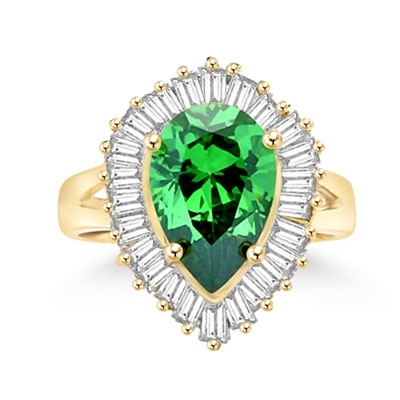 Ballerina Ring- 3.0 Carats Emerald Essence Pear surrounded by pirouetting smaller jewels. Will have them on their toes-and you calling the tune, 3.8 cts t.w. in 14K Solid Yellow Gold.