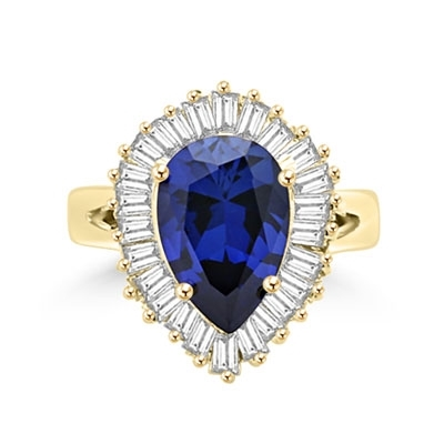 Ballerina Ring- 3.0 Carats Sapphire Essence Pear surrounded by pirouetting smaller jewels. Will have them on their toes-and you calling the tune, 3.8 cts t.w. in 14K Solid Yellow Gold.