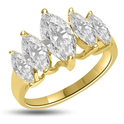 Diamond Essence Ring with 5 graduating Marquise Essence, appx. 2.5 Cts. T.W. set in 14K Solid Yellow Gold.