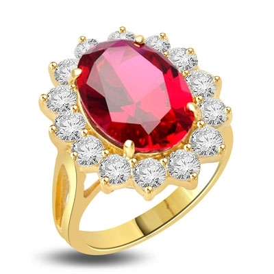 Princess Ring with 6.0 Cts. Oval cut Ruby Essence in center surrounded by 14 Round Brilliant Diamond Essence stones 6.5 Cts. T.W. set in 14K Solid Yellow Gold.