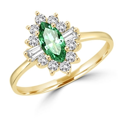 Honeysuckle Rose - 1 Ct. Marquise Cut Emerald Essence Center stone with Baguettes and Round Accent Masterpieces. 1.3 Cts. T.W. set in 14K Solid Yellow Gold.