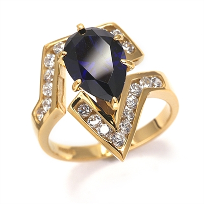 Lulu - Move Forward with this superb Ring, 2.0 carat pear cut Sapphire Essence Center Stone and Melee Accents. 3.0 Cts. T.W. set in 14K Solid Yellow Gold.