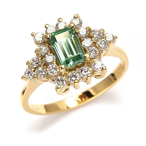 Green Eyes- Ring with Emerald Cut Emerald Essence in Center,and melee accents.set in 14K Solid Yellow Gold.