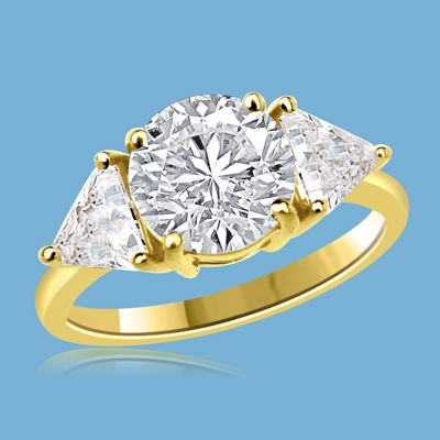 Risque - Diamond Essence Ring with 2 Carat Round Cut Diamond Essence Center and 0.5 Ct. Each trilliant cut side accents, 3.0 Cts.T.W. in 14K Solid Gold.